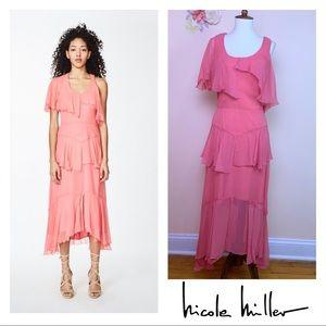 New! NICOLE MILLER One Shoulder Asymmetrical Dress